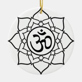 Adorno De Cerámica Flor de Lotus, negra con el fondo blanco