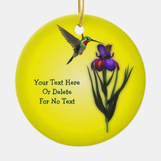 Adorno De Cerámica Flor del colibrí y del iris personalizada