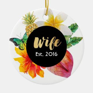 Adorno De Cerámica Floral tropical de la esposa de la escritura del