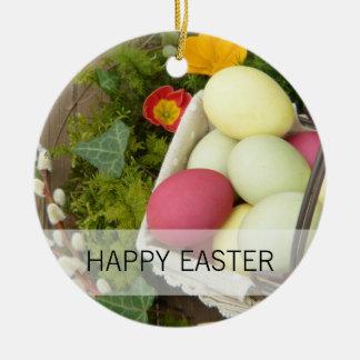 Adorno De Cerámica Flores de la primavera y cesta de huevos de Pascua