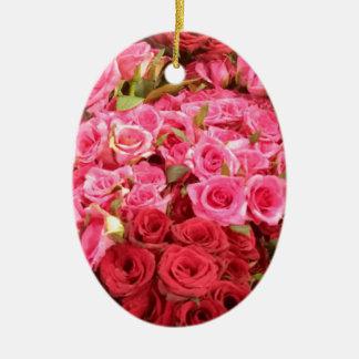 Adorno De Cerámica Flores en los rosas de Filipinas, rosados y rojos