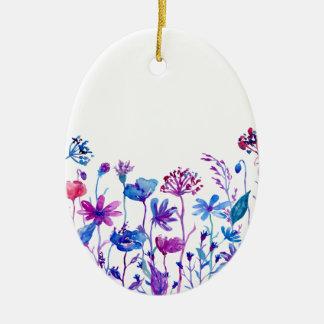Adorno De Cerámica Flores púrpuras del campo de la acuarela
