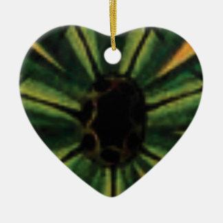 Adorno De Cerámica flores verdes del pétalo