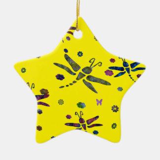 Adorno De Cerámica flores y libélulas coloridas