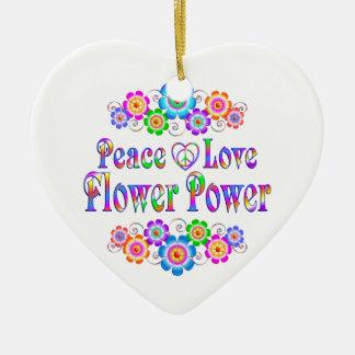 Adorno De Cerámica Flower power bonito del amor de la paz