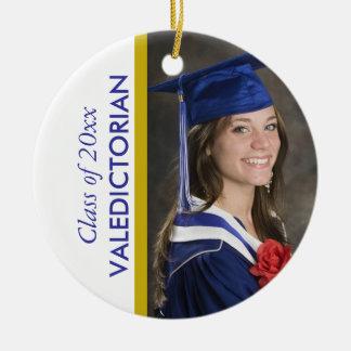 Adorno De Cerámica Foto blanca azul del Valedictorian de la