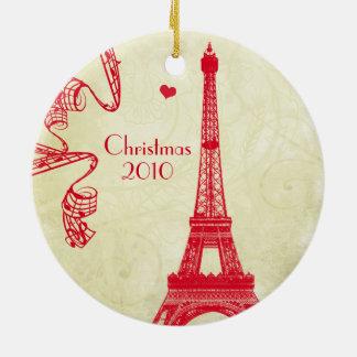 Adorno De Cerámica Foto de familia del navidad con la torre Eiffel
