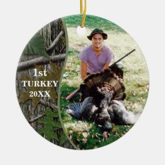 Adorno De Cerámica Foto de la caza de Camo del arbolado del cazador