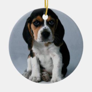 Adorno De Cerámica Foto del perro de perrito del beagle