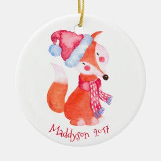 Adorno De Cerámica Fox del navidad de la acuarela personalizado