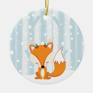 Adorno De Cerámica Fox lindo del arbolado del navidad