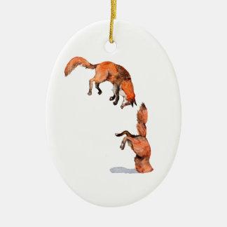 Adorno De Cerámica Fox rojo de salto