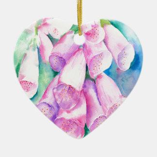 Adorno De Cerámica Foxgloves rosados de la acuarela
