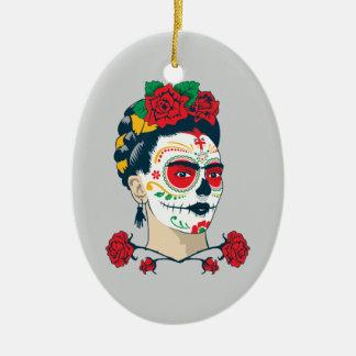 Adorno De Cerámica Frida Kahlo el   El Día de los Muertos