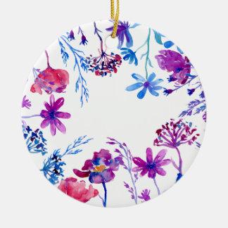 Adorno De Cerámica Frontera púrpura de la flor de la acuarela