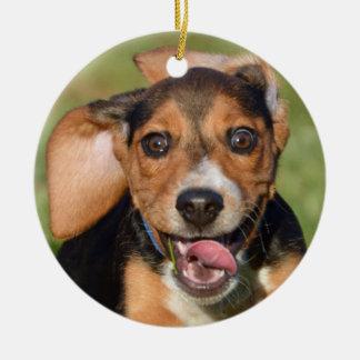 Adorno De Cerámica Funcionamiento loco del perrito del beagle