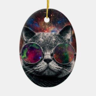 Adorno De Cerámica Gafas que llevan del gato del espacio delante de