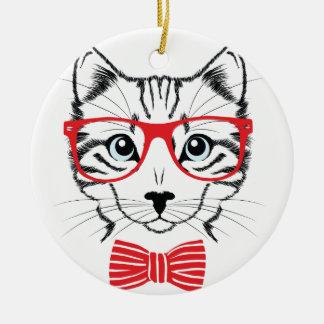 Adorno De Cerámica gato con los vidrios