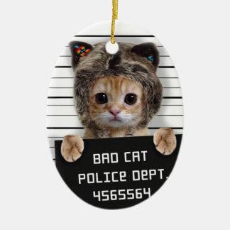 Adorno De Cerámica gato del mugshot - gato loco - gatito - felino