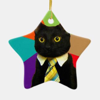 Adorno De Cerámica gato del negocio - gato negro
