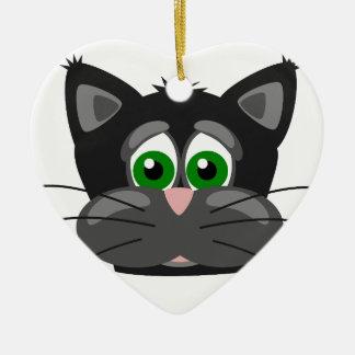 Adorno De Cerámica Gato negro de ojos verdes