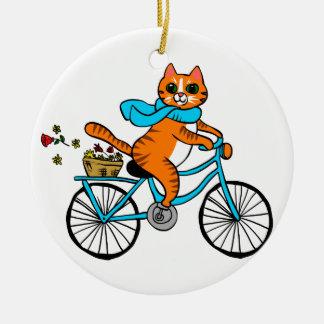 Adorno De Cerámica Gato que monta una bicicleta