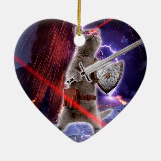 Adorno De Cerámica gatos del guerrero - gato del caballero - laser