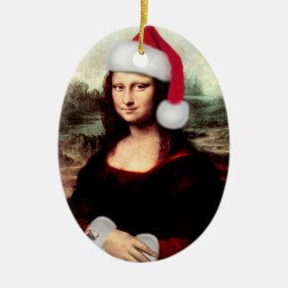 Adorno De Cerámica Gorra de Santa del navidad de Mona Lisa