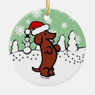 Adorno De Cerámica Gorra de Santa del navidad del Dachshund