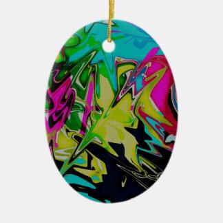 Adorno De Cerámica Goteo fundido abstracto oscuro del color