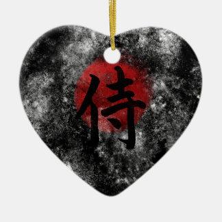 Adorno De Cerámica Grunge 2 del samurai del kanji