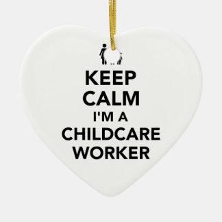 Adorno De Cerámica Guarde la calma que soy trabajador del cuidado de