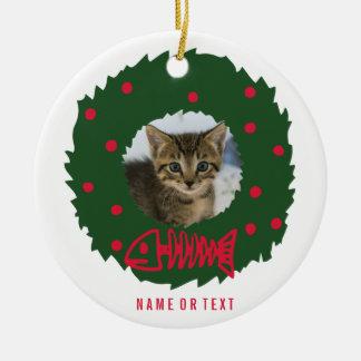 Adorno De Cerámica Guirnalda divertida del navidad del gato con la