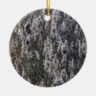 Adorno De Cerámica Hierba de lámina vieja en un día de invierno
