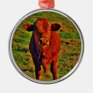 Adorno De Cerámica Hierba verde clara de la pequeña vaca de Brown