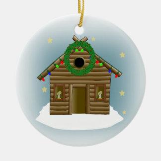 Adorno De Cerámica Hogar para el navidad de la cabaña de madera de