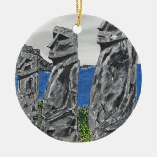 Adorno De Cerámica Hombres de la piedra de la isla de pascua