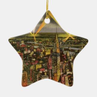 Adorno De Cerámica Horizonte de New York City del vintage