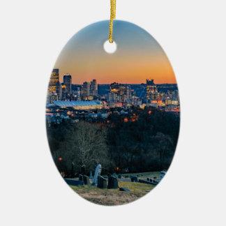 Adorno De Cerámica Horizonte de Pittsburgh en la puesta del sol