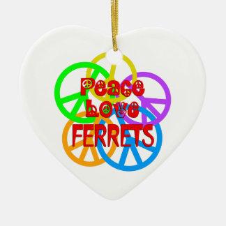 Adorno De Cerámica Hurónes del amor de la paz