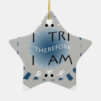 Adorno De Cerámica I tri por lo tanto soy Triathlon