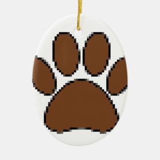 Adorno De Cerámica Impresión de la pata del perro del pixel