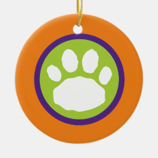 Adorno De Cerámica Impresión verde, púrpura y anaranjada Halloween de