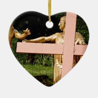 Adorno De Cerámica Jesús con la cruz