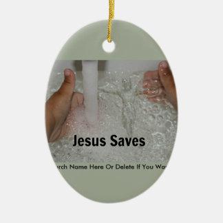 Adorno De Cerámica Jesús en agua con dos pulgares sube la promoción