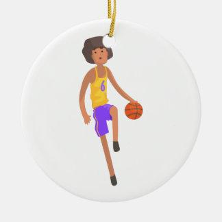 Adorno De Cerámica Jugador de básquet que corre con el pegatina de la