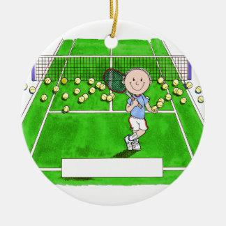 Adorno De Cerámica Jugador de tenis, varón - dibujo animado