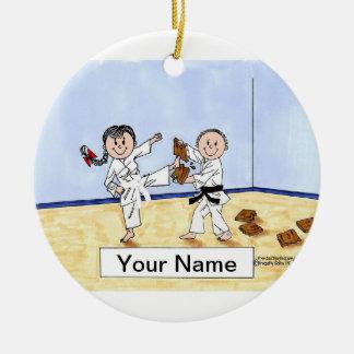 Adorno De Cerámica Karate - varón y hembra