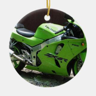 Adorno De Cerámica Kawasaki Ninja verde ZX-6R Motocycle, bici de la