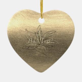 Adorno De Cerámica La flor bonita del lirio del oro floral añade el